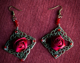 Red Rose and Black Rose Earrings