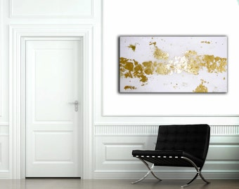 Gold leaf art / gold foil painting / gold leaf canvas / gold glitter / resin / Abstract / glitter / metallic   18 x 36
