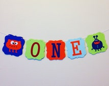 Monster theme high chair banner . i am one banner . monster banner  . cake smash banner . cake smash props . one monster banner . photo prop