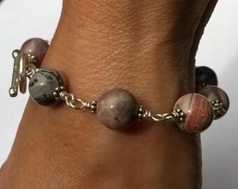Jasper and Sterling Silver Bracelet, Wire Wrap, Porcelain Jasper Gemstone, Plain Hill Tribe Toggle Clasp, Bali Flower Spacer,Cream Black Red