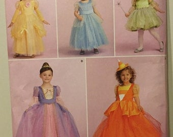Simplicity 1303 Disney Princess Halloween Costume Pattern Toddler Cinderella, Belle, Tinkerbell, Rapunzel, Candy Corn