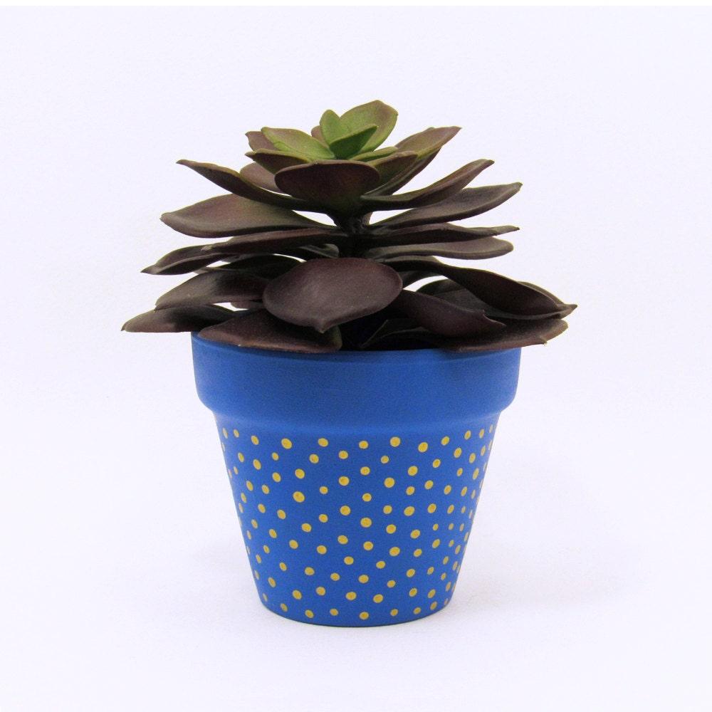 Terracotta Pot Succulent Planter Cute Blue Planter Small