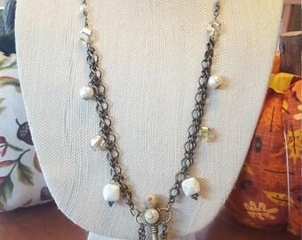 Antique gold skeleton key necklace