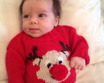 Hand-knitted Baby Christmas Jumper with Rudolph