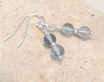 Green fluorite gemstone bead drop earrings, greeen dangle earrings, gemstone earrings, sterling silver drop earrings, gift for her