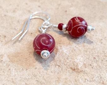 Red drop earrings, jade earrings, Hill Tribe silver earrings, sundance style earrings, dangle earrings, silver earrings, gift for her