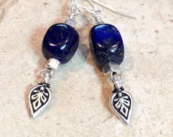 Blue drop earrings, blue dangle earring, lapis earrings, sterling silver earring, sundance style earrings, silver dangle earrings