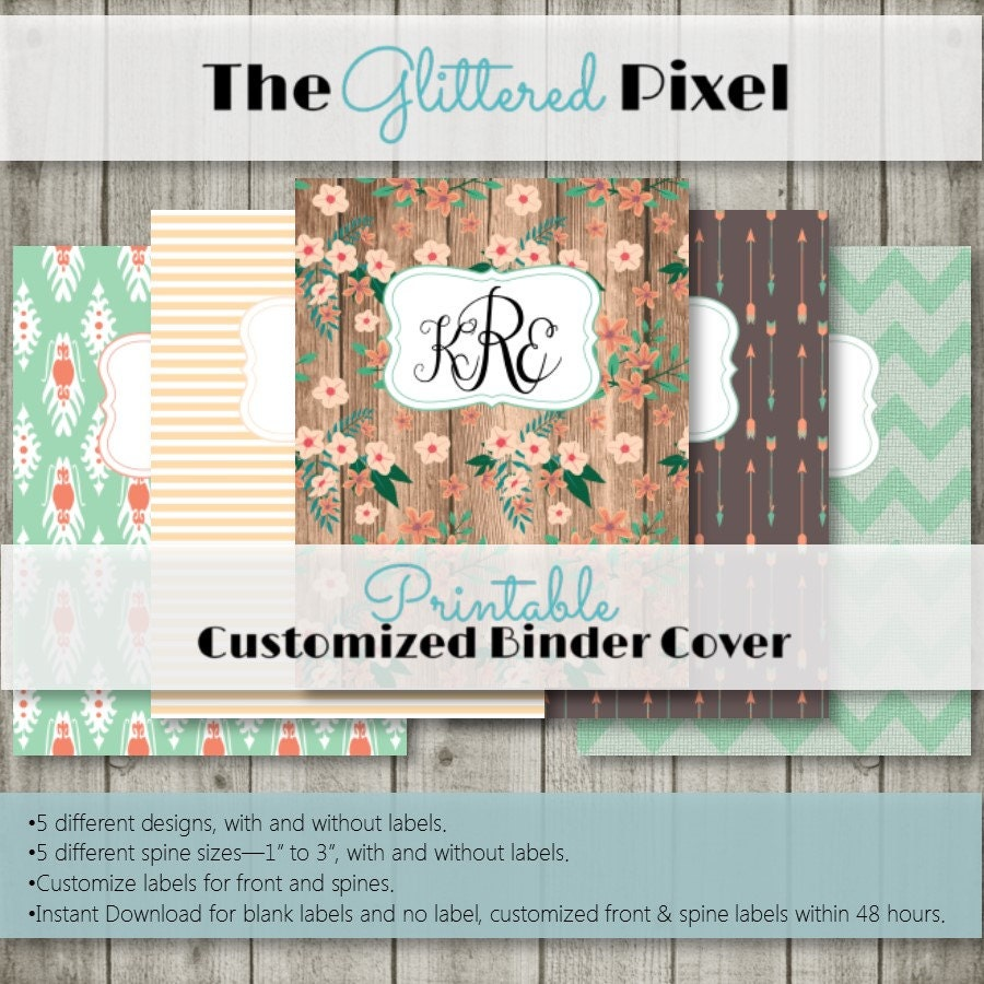 Printable Binder Covers Rustic Floral Collection Custom
