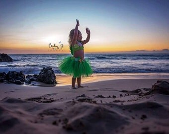 Hula girl Hawaiian tutu costume outfit set, birthday outfit, Halloween costume, fluffy hula tutu skirt and top