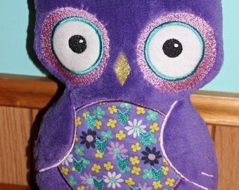 Soft Snuggly Embroidered Plush Owl Toy or Pillow - Purple Furry Minky-Type fabric with Cotton Floral Fabric Chest