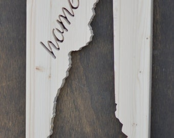 "New Hampshire Wood Silhouette Cutout ""Home"""