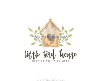 Bird House Logo Watercolor House Logo Bird Logo Branch Logo Design