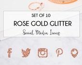 Rose Gold Glitter Social Media Icons, Blog Social Icons, Custom Blog Icons