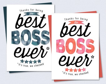 Boss Card - Thanks for being the best boss ever - Printable Card