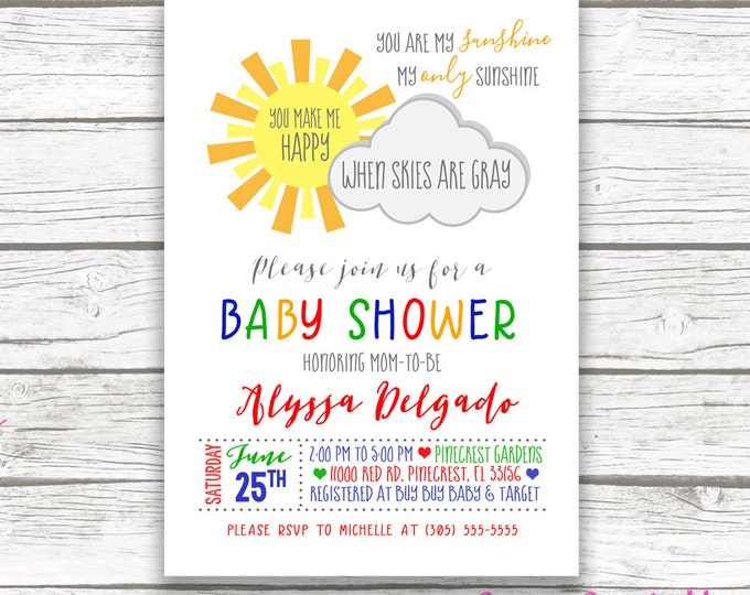 You Are My Sunshine Boy Baby Shower Invitation, Primary Color Blue Red Green Gender Neutral Baby Shower Invite, Printable Invitation