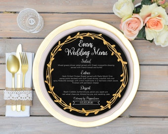Round menu cards Circle menu Black and gold wedding menu cards Round menus Wedding menu sign Round dinner menu chalkboard Printable menu