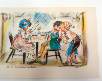 Drawing of children from Germaine Bouret - 1940 - Litography