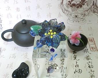 Chinese Blue Czech Glass Flower Petal Hairstick Hair Pin