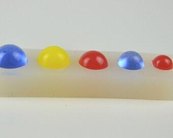 5 in 1, Silicone Mold, Semi sphere, half ball, semi ball, half shpere,  Semi transparent MOLD, Resin Jewellery,   #HB003