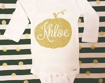 Thanksgiving pumpkin custom personalized onesie bodysuit creeper one peice babies first happy thanksgiving white and gold glitter