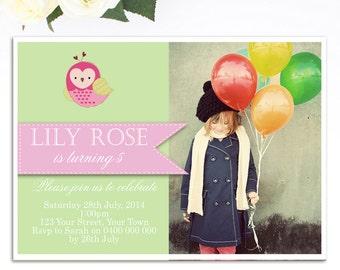 Owl Birthday Invitation - Owl Invitation - Printable Invitation - 1st Birthday - Girls Birthday Invitation - Personalized Invitation
