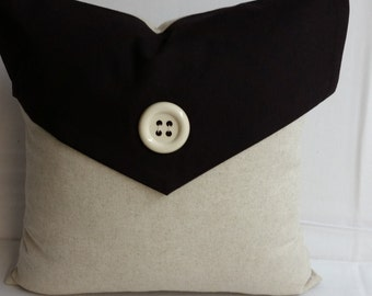 """Envelope decorative pillow 16"""" square, brown and beige, RTS"""