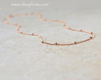 Satellite Chain Necklace, Layering Necklace, Delicate Beaded Necklace, Sterling Silver, Rose Gold, Gold Filled