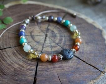 Rainbow Chakra Aromatherapy Bracelet, Gemstone Bracelet, Healing Crystal Bracelet, Mala Men's Bracelet, Ladies Bracelets - #01AB-04-001