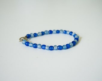 Two Tone Blue Glass Beaded Bracelet