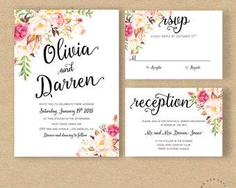 Bohemian Floral Wedding Invitation Boho Invite Suite Rustic Kit