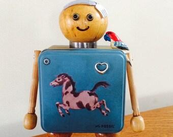 Robot sculpture, robots, robot, metal sculpture, found objects, found object art, found object robot, assemblage art, metal robot - Henry