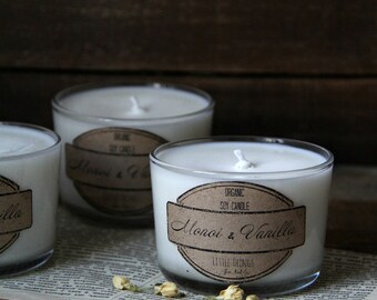 Soy Candle - Monoi & Vanilla - Organic Natural Soy Wax Scented Candle - 7 oz.