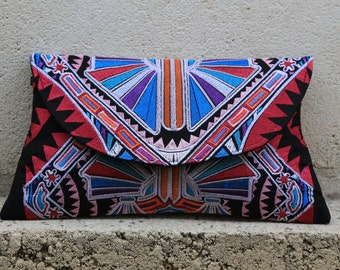 Tribal Clutch Cross-Body Bag - Pink