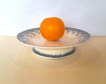 Wonderful pedestal cake stand / compote dish / Transferware Terre de Fer / Antique French Ironstone / Jules Etienne Paris