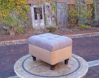 Ash Grey Linen and Burlap Upholstered Ottoman- Biscuit Tufted- Brass Nailhead~ Design 59 Furniture