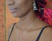 Vintage silver triangle bauble drop earrings