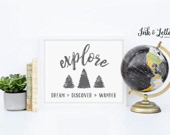 Explore Sign - Explore Dream Discover Wander - Adventure Nursery - Gray Nursery Decor - Adventure Printable - Instant Download - 8x10