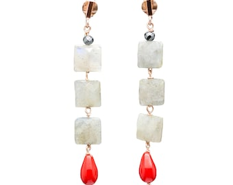 Labradorite pendant earrings, coral and silver