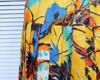 Vintage Maxi Skirt, Yellow Long Skirt, Pleated Skirt, Nineties Skirt