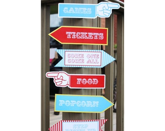 Carnival Circus Party Signs, Direction Signs, Printable Birthday Decorations, Instant Download, Editable Text, Personalize with Adobe Reader