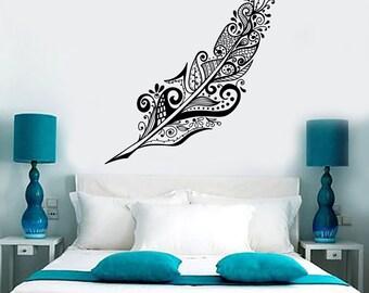 Wall Vinyl Decal Feather Dream Dreamcatcher Romantic Amazing Bedroom Decor 1368dz