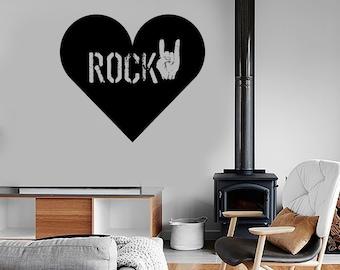 Wall Vinyl Music Rock Heart Love Guaranteed Quality Decal Mural 1699dz