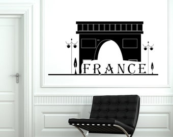 Wall Decal Paris France Classic French Building Vinyl Decal Sticker 1821dz