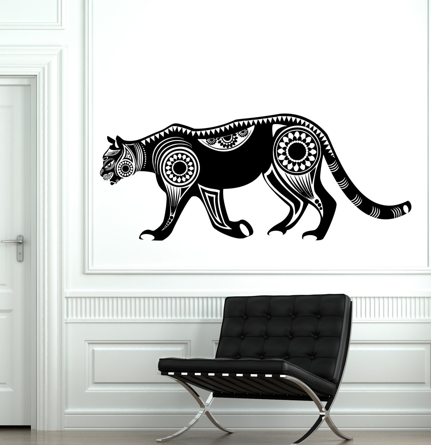 Wall vinyl panther mountain lion animal symbol ornament mural for Black panther mural