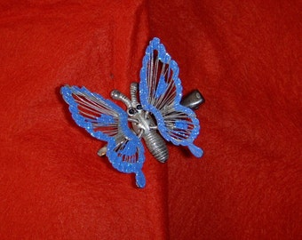 Vintage, periwinkle blue, butterfly hair clip