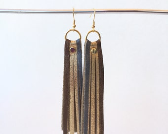 Leather Tassel Earrings, Gold Bronze Pewter Fringe Earrings, Mixed Metal Earrings, Boho Earrings, Handmade Leather Earrings, Long Earrings