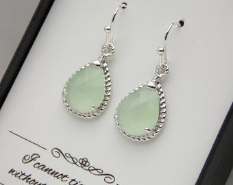 Silver Mint Green Earrings, Green Mint Bridesmaid Earrings, Wedding Jewelry, Soft Green, Pistachio, Bridesmaid Jewelry, Bridesmaid Gifts
