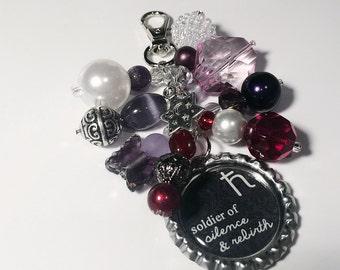 Sailor Saturn Purse Charm / Sailor Moon Anime Soldier Senshi Quote / Bottlecap Pendant / Beaded Jewelry / Zipper Pull Keychain