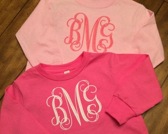 Toddler Long Sleeve Monogram Tee
