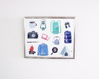 Camping Gear Print